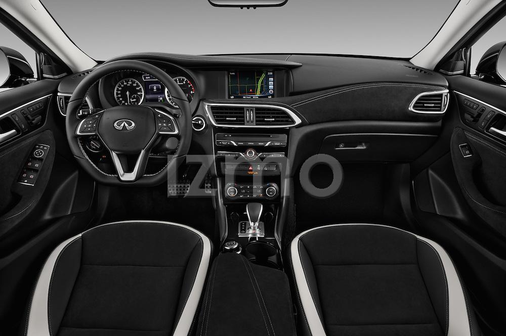 Stock photo of straight dashboard view of 2018 Infiniti QX30 Sport 5 Door SUV Dashboard