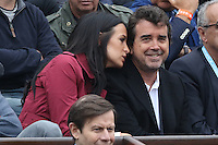 Arnaud Lagardere and wife Jade Foret watching tennis during Roland Garros tennis open 2016 in Paris on June 01 2016.