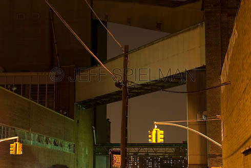 THIS IMAGE IS AVAILABLE EXCLUSIVELY FROM CORBIS<br /> <br /> Please search for image #42-19897060 on www.corbis.com<br /> <br /> Mysterious Urban Scene-Traffic Lights and Factory Building (formerly the Domino Sugar Refinery) at Night, the Williamsburg neighborhood of Brooklyn, New York City, New York State, USA