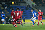 St Johnstone v Aberdeen…..24.11.19   McDiarmid Park   SPFL<br />Matty Kennedy's shot is tipped over the bar by Joe Lewis<br />Picture by Graeme Hart.<br />Copyright Perthshire Picture Agency<br />Tel: 01738 623350  Mobile: 07990 594431