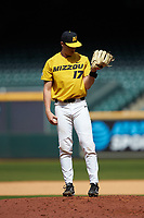 Missouri Tigers relief pitcher Ben Pedersen (17) checks his wristband for the pitch call during the game against the Oklahoma Sooners in game four of the 2020 Shriners Hospitals for Children College Classic at Minute Maid Park on February 29, 2020 in Houston, Texas. The Tigers defeated the Sooners 8-7. (Brian Westerholt/Four Seam Images)