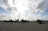 FORT LAUDERDALE FL - NOVEMBER 19: The Lockheed Martin F-22 Raptor and Lockheed Martin F-35 Lightning II are seen on the tarmac during press day for the Fort Lauderdale Air Show at the Fort Lauderdale-Hollywood International Airport on November 19, 2020 in Fort Lauderdale, Florida. Credit: mpi04/MediaPunch