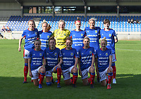20190810 - DENDERLEEUW, BELGIUM : Linfield's players with Lauren Perry (1) , Louise McFrederick (3) , Ashley Hutton (5) , Casey Howe (8) , Kirsty McGuinness (11) , Kelsie Burrows (14) , Rebecca McKenna (18) , Abbie Magee (19) , Caitlin McGuinness (26) , Victoria Ashton-Jones (27) and Chloe McCarron (97)  pictured posing for the teampicture during the female soccer game between the Greek PAOK Thessaloniki Ladies FC and the Northern Irish Linfield ladies FC , the second game for both teams in the Uefa Womens Champions League Qualifying round in group 8 , Wednesday 7 th August 2019 at the Van Roy Stadium in Denderleeuw  , Belgium  .  PHOTO SPORTPIX.BE | DAVID CATRY