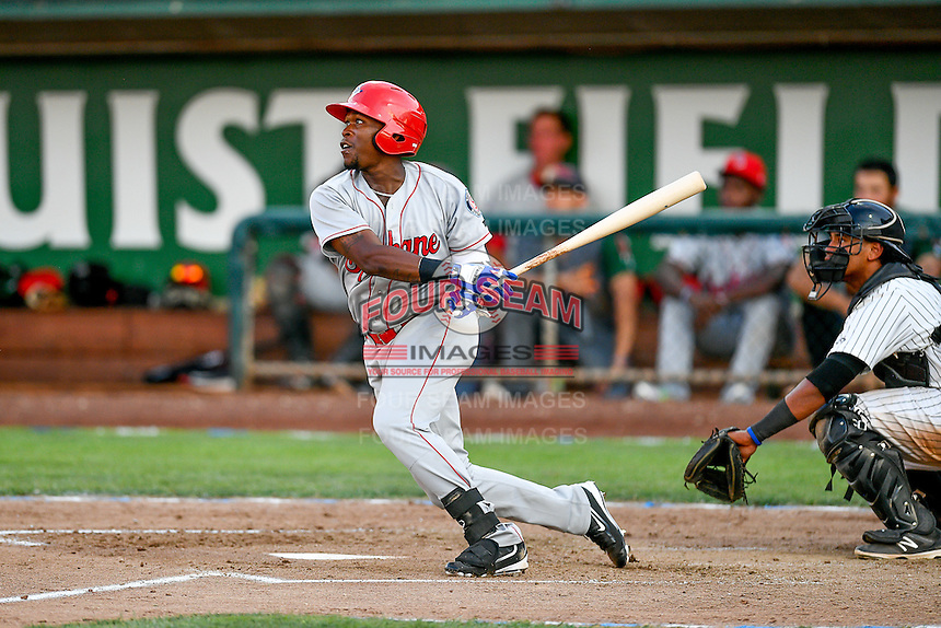 Northwest League All-Star Xavier Turner (9) of the Spokane Indians at bat against the Pioneer League All-Stars at the 2nd Annual Northwest League-Pioneer League All-Star Game at Lindquist Field on August 2, 2016 in Ogden, Utah. The Northwest League defeated the Pioneer League 11-5. (Stephen Smith/Four Seam Images)