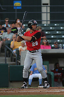 Carolina Mudcats outfielder Anthony Gallas #28 at bat during a game against the Myrtle Beach Pelicans at Ticketreturn.com Field at Pelicans Park on June 30, 2012 in Myrtle Beach, South Carolina. Myrtle Beach defeated Carolina by the score of 5-4 in 11 innings. (Robert Gurganus/Four Seam Images)