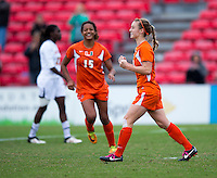 Tara Schwitter (24) of Miami celebrates her goal during the game at Ludwig Field in College Park, MD.  Maryland defeated Miami, 2-1, in overtime.