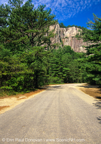 Scenic view of Cathedral Ledge from along Cathedral Ledge Road in North Conway, New Hampshire. This ledge is a popular rock climbing location in the state of New Hampshire.