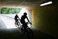 Bikers ride, Friday, September 10, 2021 along the Razorback Greenway in Rogers. Check out nwaonline.com/210912Daily/ for today's photo gallery. <br /> (NWA Democrat-Gazette/Charlie Kaijo)