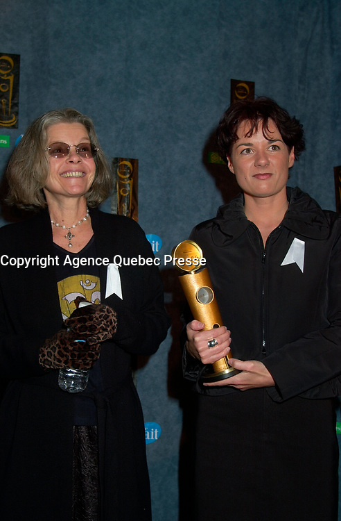 February 23, 2003, Montreal, Quebec, Canada<br /> <br /> Actress Genevievre Bujold (L) and Film Maker Manon Briand (R)  poses for  photographerswith Briand's Jutra award (for the film with the most international achievement),February 23, 2003 in Montreal, Quebec, Canada<br /> <br /> <br /> <br /> PHOTO :  Agence Quebec Presse