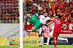 Goalkeeper Yapp Hung Fai of Hong Kong (L) fights for the ball with Mohammad Aldmeiri of Jordan (R) during the International Friendly match between Hong Kong and Jordan at Mongkok Stadium on June 7, 2017 in Hong Kong, China. Photo by Marcio Rodrigo Machado / Power Sport Images