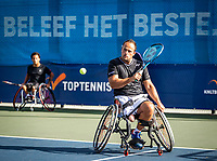 Amstelveen, Netherlands, 22 Augustus, 2020, National Tennis Center, NTC, NKR, National  Wheelchair Tennis Championships, Man's doubles final  final :  Carlos Anker (NED) and Tom Egberink (NED) (R)  <br /> Photo: Henk Koster/tennisimages.com