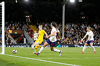 Lucy Staniforth of England Women scores, but then has it disallowed during the Women's international friendly match between England Women and Australia at Craven Cottage, London, England on 9 October 2018. Photo by Carlton Myrie / PRiME Media Images.