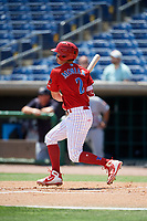 Clearwater Threshers center fielder Mickey Moniak (2) follows through on a swing during a game against the Lakeland Flying Tigers on May 2, 2018 at Spectrum Field in Clearwater, Florida.  Clearwater defeated Lakeland 7-5.  (Mike Janes/Four Seam Images)