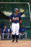 GCL Braves right fielder Anthony Concepcion (38) at bat during a game against the GCL Blue Jays on August 5, 2016 at ESPN Wide World of Sports in Orlando, Florida.  GCL Braves defeated the GCL Blue Jays 9-0.  (Mike Janes/Four Seam Images)