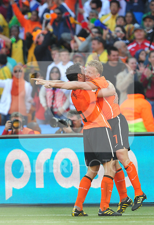 7 Dirk KUYT after scoring a goal during the 2010 World Cup Soccer match between Denmark and Nederland played at Soccer City Stadium in Johannesburg South Africa on 14 June 2010.
