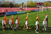 Members of Sky Blue FC enter the field for introductions. Sky Blue FC defeated the Chicago Red Stars 1-0 in a Women's Professional Soccer (WPS) match at Yurcak Field in Piscataway, NJ, on April 11, 2010.
