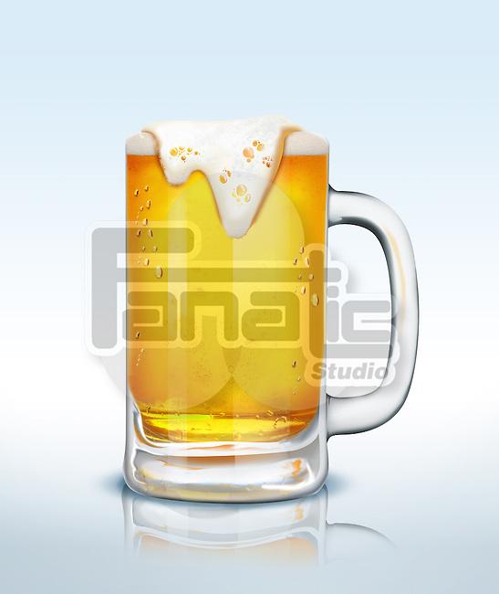 Illustration of beer mug isolated over blue background
