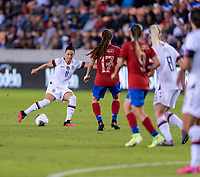 HOUSTON, TX - FEBRUARY 03: Ali Krieger #11 of the United States crosses the ball during a game between Costa Rica and USWNT at BBVA Stadium on February 03, 2020 in Houston, Texas.