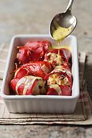 Piquillos farcis  à la morue , chorizo, sauce au safran du Quercy - recette de Christian Constant EXCLU: EDITION LIVRE CUISINE DU SUD-OUEST