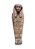 Ancient Egyptian wooden sarcophagus - the tomb of Tagiaset, Iuefdi & Harwa circa 25nd Dynasty (7th cent BC.) Thebes. Egyptian Museum, Turin. white background.<br /> <br /> Possibly the sarcophagus of the daughter of Tagiaset. There is a depiction of a wesekh collar around the neck.