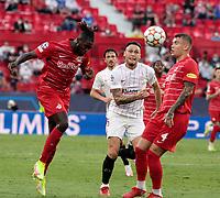 14th September 2021; Sevilla, Spain: UEFA Champions League football, Sevilla FC versus RB Salzburg; Oumar Solet of Salzburg  and Lucas Ocampos of Sevilla  challenge for a header