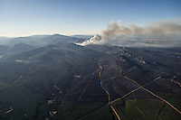 Aerial image of a wildfire in Castrocontrigo, near Leon on August 21, 2012. Numerous wildfires have broken out across Spain in the sweltering heat in recent weeks, an extra headache for authorities struggling to get the country out of its financial crisis and recession. © Pedro ARMESTRE