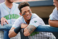 Lynchburg Hillcats third baseman Jorma Rodriguez (9) before the second game of a doubleheader against the Frederick Keys on June 12, 2018 at Nymeo Field at Harry Grove Stadium in Frederick, Maryland.  Frederick defeated Lynchburg 8-1.  (Mike Janes/Four Seam Images)