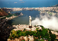 Aerial view of the city of Rio de Janeiro and harbor with the Corcovado Christ statue. Rio de Janeiro, Brazil.