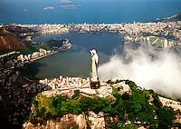 Aerial view of the city of Rio de Janeiro and harbor with the Corcovado Christ statue. Rio de Janeiro, Brazil.