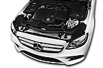 Car Stock 2016 Mercedes Benz E-Klasse Sportline 4 Door Sedan Engine  high angle detail view