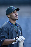 Randy Winn of the Tampa Bay Devil Rays before a 2002 MLB season game against the Los Angeles Angels at Angel Stadium, in Los Angeles, California. (Larry Goren/Four Seam Images)