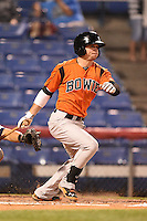 Bowie Baysox second baseman Buck Britton (5) at bat during a game against the Binghamton Mets on August 3, 2014 at NYSEG Stadium in Binghamton, New York.  Bowie defeated Binghamton 8-2.  (Mike Janes/Four Seam Images)