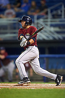 Mahoning Valley Scrappers third baseman Jonathan Laureano (40) at bat during the second game of a doubleheader against the Batavia Muckdogs on August 17, 2016 at Dwyer Stadium in Batavia, New York.  Batavia defeated Mahoning Valley 5-3.  (Mike Janes/Four Seam Images)