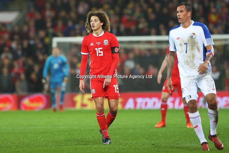 Ethan Ampadu of Wales and Blas Perez of Panama during the International Friendly match between Wales and Panama at The Cardiff City Stadium, Wales, UK. Tuesday 14 November 2017