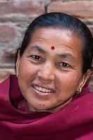 Bhaktapur, Nepal.  Woman with Bindi.