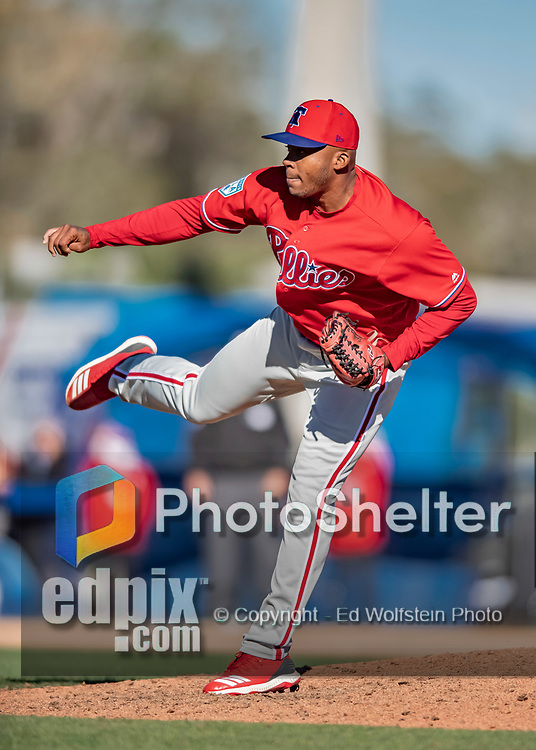 6 March 2019: Philadelphia Phillies pitcher Edubray Ramos on the mound during a Spring Training game against the Toronto Blue Jays at Dunedin Stadium in Dunedin, Florida. The Blue Jays defeated the Phillies 9-7 in Grapefruit League play. Mandatory Credit: Ed Wolfstein Photo *** RAW (NEF) Image File Available ***