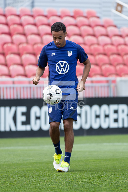 SANDY, UT - JUNE 8: Tyler Adams moves with the ball during a training session at Rio Tinto Stadium on June 8, 2021 in Sandy, Utah.