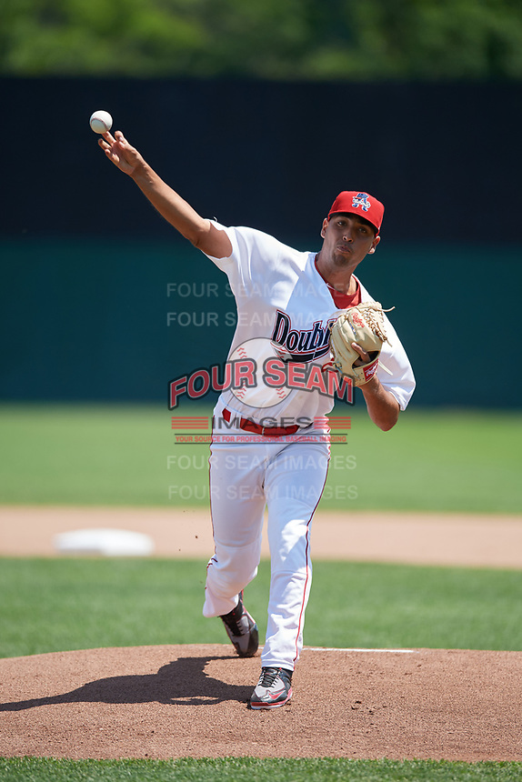 Auburn Doubledays starting pitcher Tomas Alastre (27) delivers a warmup pitch during the first game of a doubleheader against the Mahoning Valley Scrappers on July 2, 2017 at Falcon Park in Auburn, New York.  Mahoning Valley defeated Auburn 3-0.  (Mike Janes/Four Seam Images)
