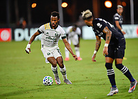 LAKE BUENA VISTA, FL - AUGUST 01: Jeremy Ebobisse #17 of the Portland Timbers runs with the ball during a game between Portland Timbers and New York City FC at ESPN Wide World of Sports on August 01, 2020 in Lake Buena Vista, Florida.