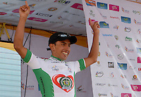 COLOMBIA. 08-08-2014. Miguel Angel Rubiano recibe la camiseta de líder general al final de la etapa 3, Barbosa – Chiquinquirá – Tunja – 123.2 Km, de la Vuelta a Colombia 2014 en bicicleta que se cumple entre el 6 y el 17 de agosto de 2014. / Miguel Angel Rubiano cyclist receives the yellow shrit as general leader at he end of the stage 3, Barbosa – Chiquinquira – Tunja – 123.2 Km, of the Tour of Colombia 2014 in bike holds between 6 and 17 of August 2014. Photo:  VizzorImage/ José Miguel Palencia / Str