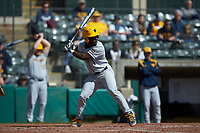 Tyler Doanes (1) of the West Virginia Mountaineers at bat against the Illinois Fighting Illini at TicketReturn.com Field at Pelicans Ballpark on February 23, 2020 in Myrtle Beach, South Carolina. The Fighting Illini defeated the Mountaineers 2-1.  (Brian Westerholt/Four Seam Images)