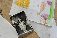 Isola di Pianosa. Pianosa Island. <br /> La scuola elementare abbandonata nel 1998.<br /> Elementary School abandoned in 1998.<br /> Quaderni dei compiti.