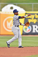 Pensacola Blue Wahoos second baseman Shed Long (4) throws the ball to first base during a game against the Tennessee Smokies at Smokies Stadium on August 30, 2018 in Kodak, Tennessee. The Blue Wahoos defeated the Smokies 5-1. (Tony Farlow/Four Seam Images)