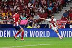 Atletico de Madrid's Diego Godin and SD Huesca's David Ferreiro during La Liga match between Atletico de Madrid and SD Huesca at Wanda Metropolitano Stadium in Madrid, Spain. September 25, 2018. (ALTERPHOTOS/A. Perez Meca)