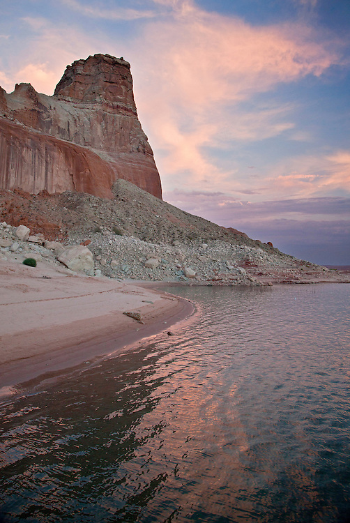 Sunset view of Alstrom Point from Padre Bay on Lake Powell, Glen Canyon National Recreation Area, Arizona, USA