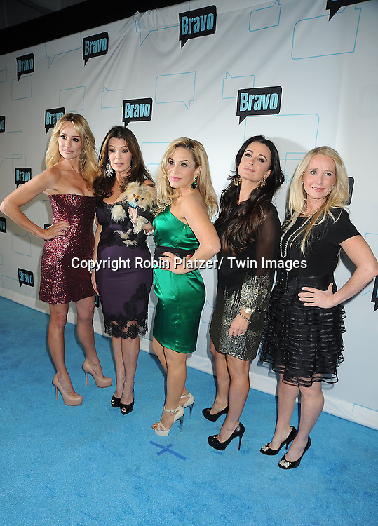 """Real Housewives of Beverly Hills"""" cast Taylor Armstrong, Lis Vanderpump, Adrienne Maloof, Kyle Richards and Kim Richards attends the Bravo Upfront on April 4, 2012 at 548 West 22nd Street in New York City."""