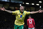 Norwich City 1 Manchester United 0, 17/11/2012. Carrow Road, Premier League. Home team's striker Anthony Pilkington celebrating scoring the only goal of the match on 60 minutes at Carrow Road stadium, home of Norwich City as his team took on Manchester United in a Barclays Premier League fixture. The home team won the match by one goal to nil watched by a crowd of 26,840. It was Norwich City's first victory against Manchester United since 2005. Photo by Colin McPherson.