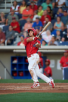 Williamsport Crosscutters first baseman Austin Listi (33) flies out during a game against the Mahoning Valley Scrappers on July 8, 2017 at BB&T Ballpark at Historic Bowman Field in Williamsport, Pennsylvania.  Williamsport defeated Mahoning Valley 6-1.  (Mike Janes/Four Seam Images)