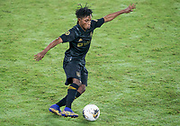22nd December 2020, Orlando, Florida, USA;  LAFC Latif Blessing passes the ball during the Concacaf Champions League Final between the LAFC and Tigres on December 22, 2020 at Explorer Stadium in Orlando, FL.