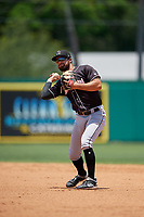 Jupiter Hammerheads second baseman Riley Mahan (2) throws to first base during a Florida State League game against the Dunedin Blue Jays on May 16, 2019 at Jack Russell Memorial Stadium in Clearwater, Florida.  Dunedin defeated Jupiter 1-0.  (Mike Janes/Four Seam Images)